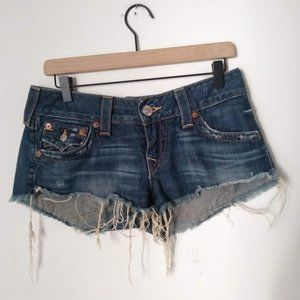 True Religion Joey Cut-Off Frayed Hem Booty Shorts